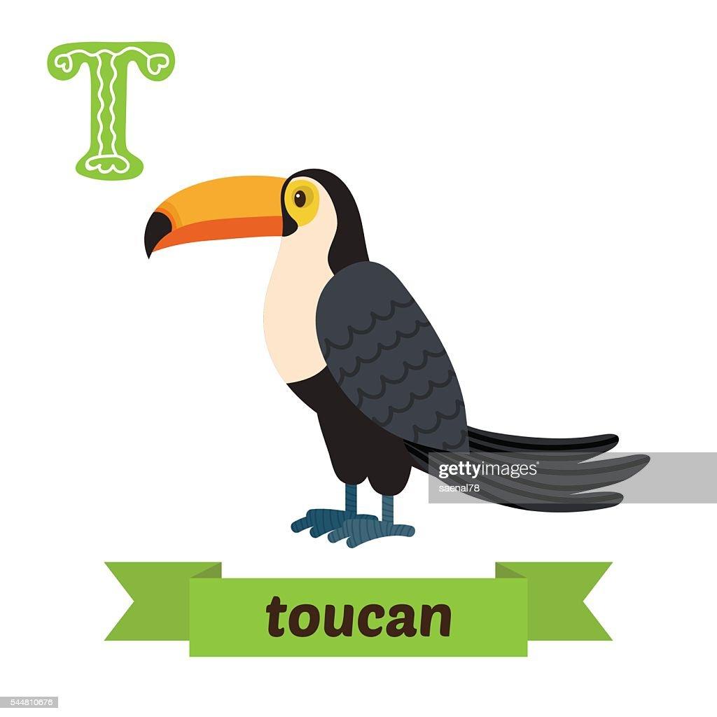 Toucan. T letter. Cute children animal alphabet in vector. Funny