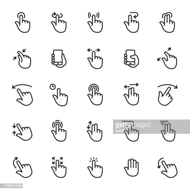 touch gestures - outline icon set - gesturing stock illustrations