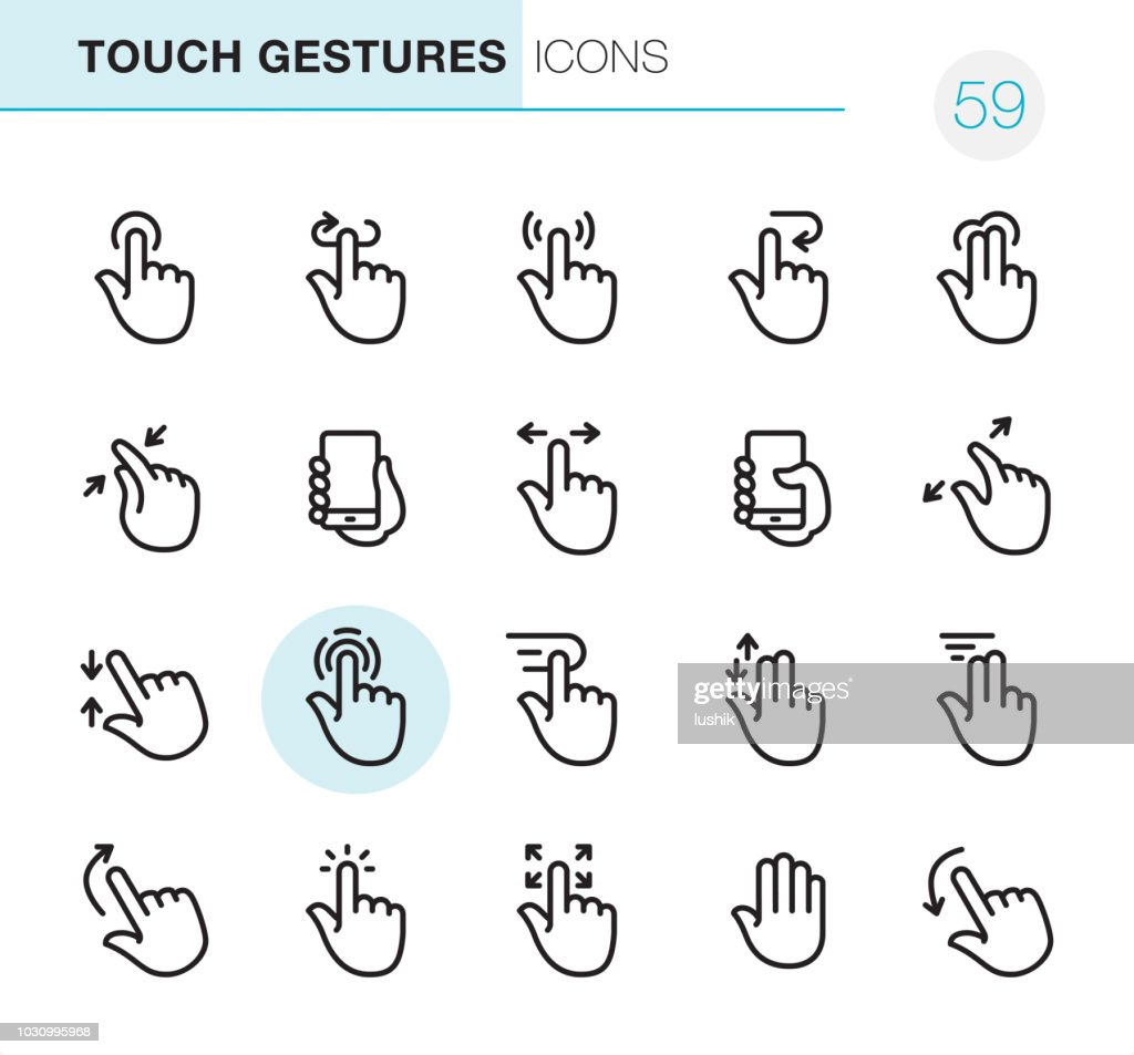 Touch Gestures - Pixel Perfect icons : stock illustration