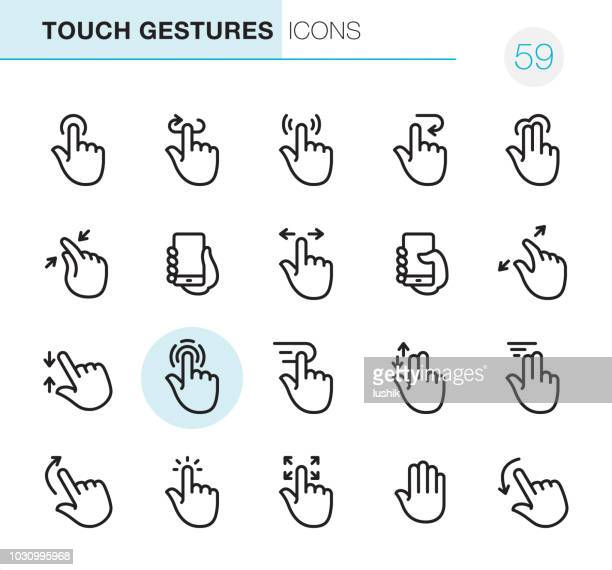 touch gestures - pixel perfect icons - mobile phone stock illustrations