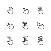 Touch Gestures - Pixel Perfect outline icons - part 1