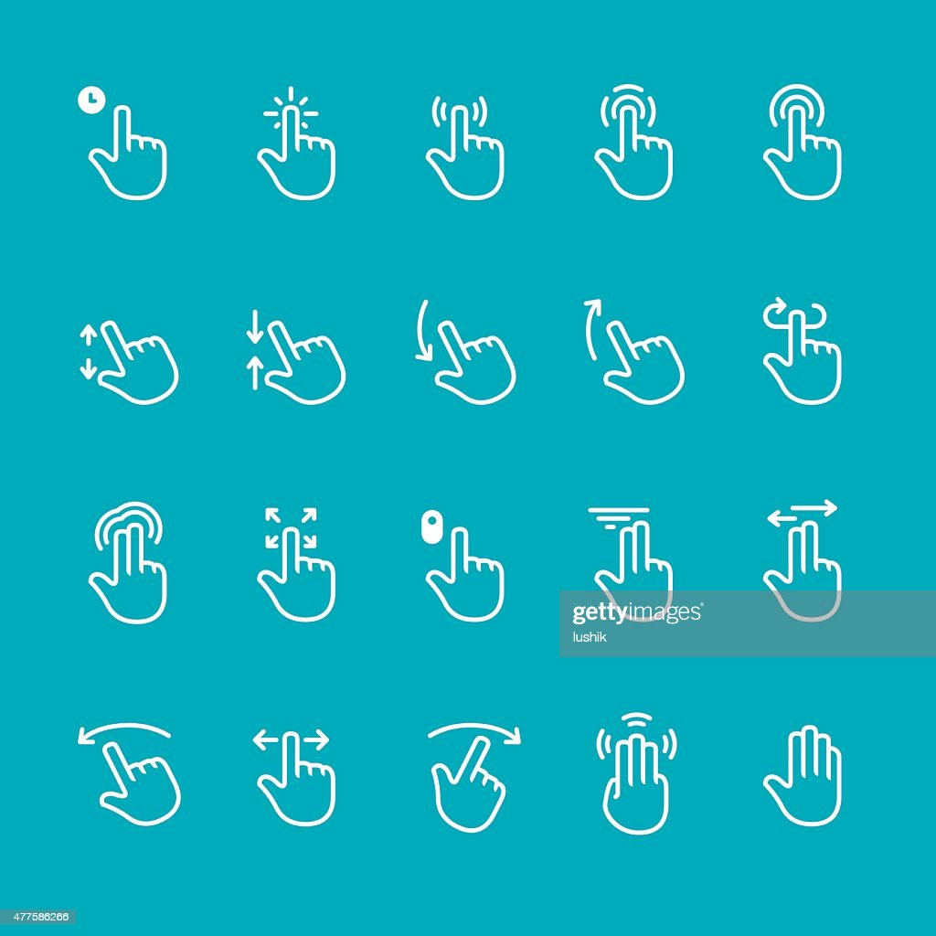 Touch screen gesture related vector icons