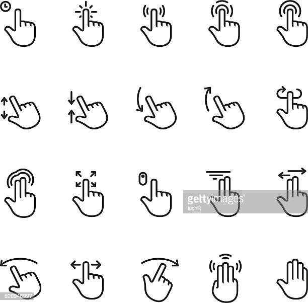 touch screen gesture vector icon - unico pro set #1 - hand stock illustrations