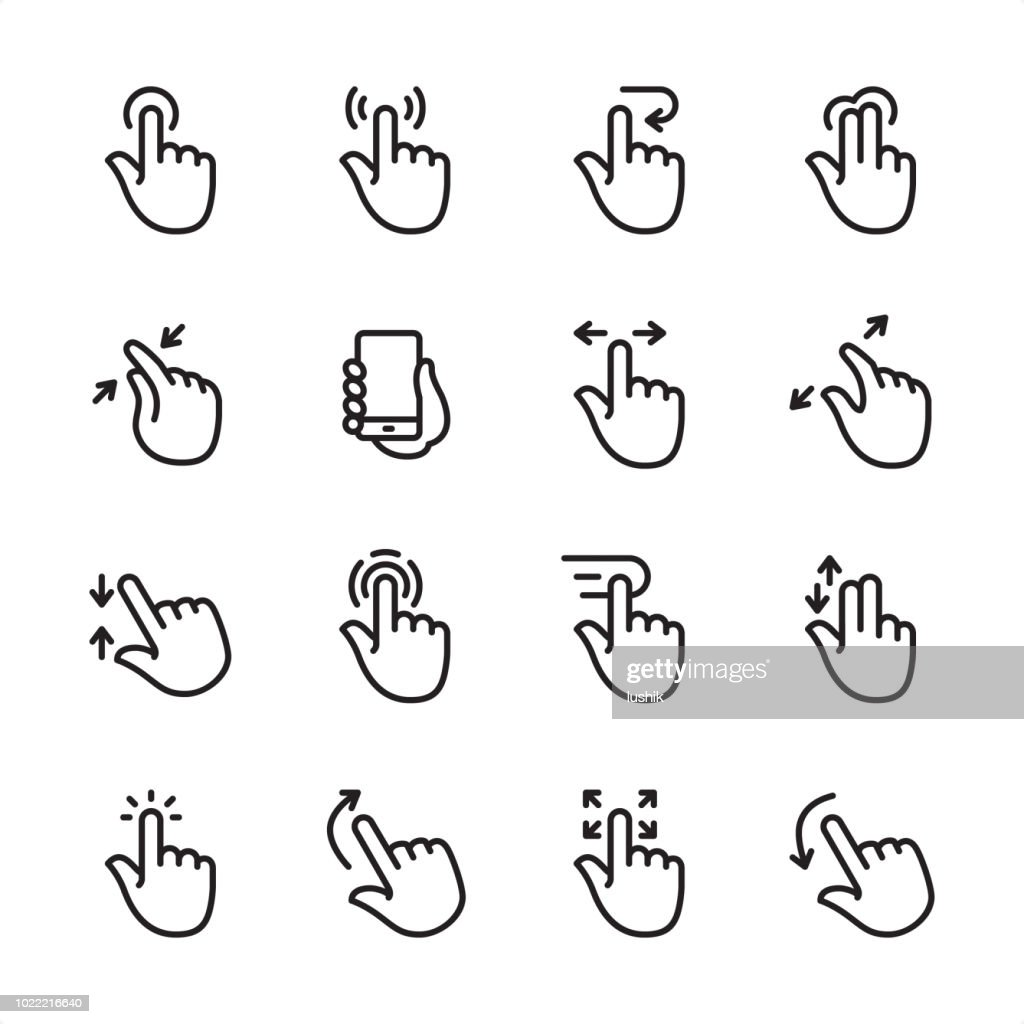 Touch Screen Gestures - outline icon set : Stock Illustration