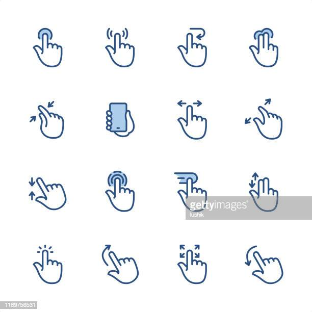 touch screen gestures - pixel perfect blue outline icons - gesturing stock illustrations