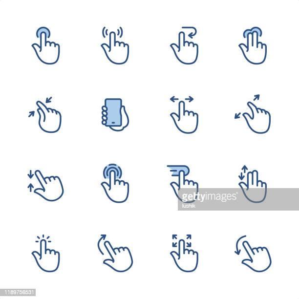 stockillustraties, clipart, cartoons en iconen met aanraakscherm gebaren-pixel perfect blauwe contour pictogrammen - gebaren