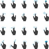 Touch screen hand gesture icon set