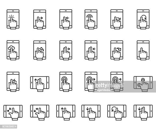 Touch screen hand gesture icons