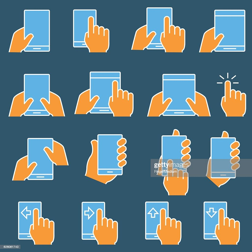 Touch screen icon set : stock illustration