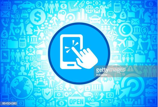 Touch Screen Smart Phone Icon on Business and Finance Vector Background