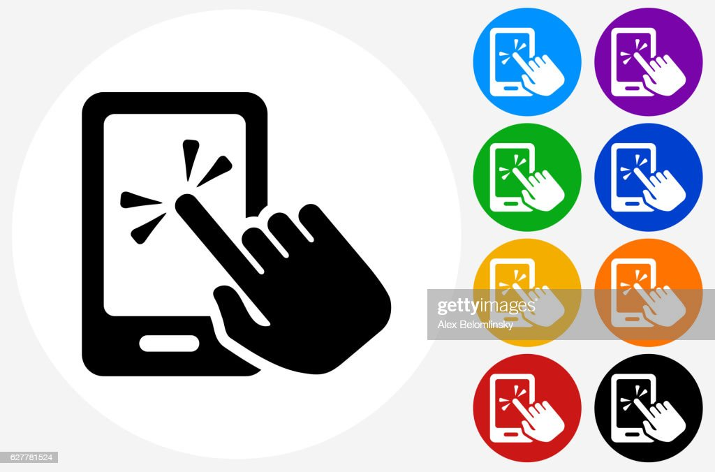 Touch Screen Smart Phone Icon on Flat Color Circle Buttons