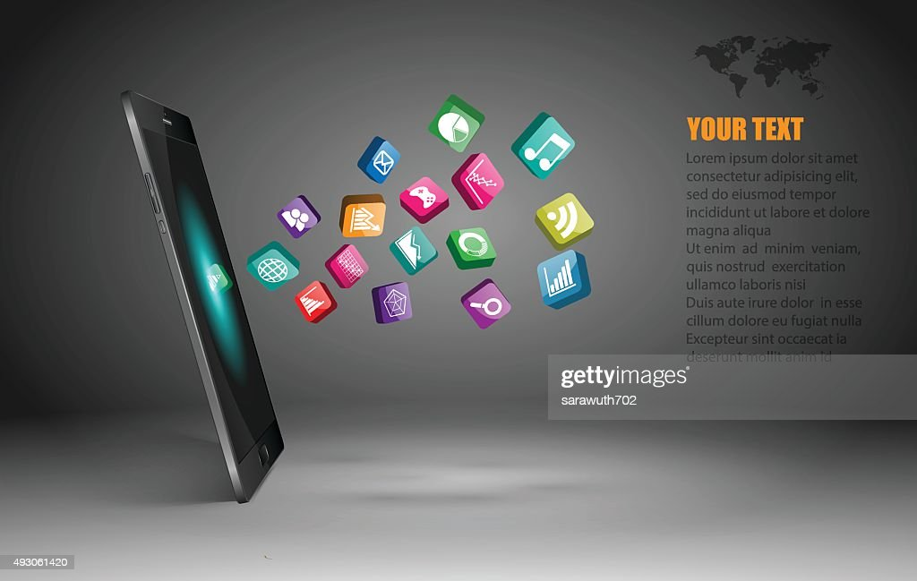 Touchscreen Smartphone with Application Icons,vector