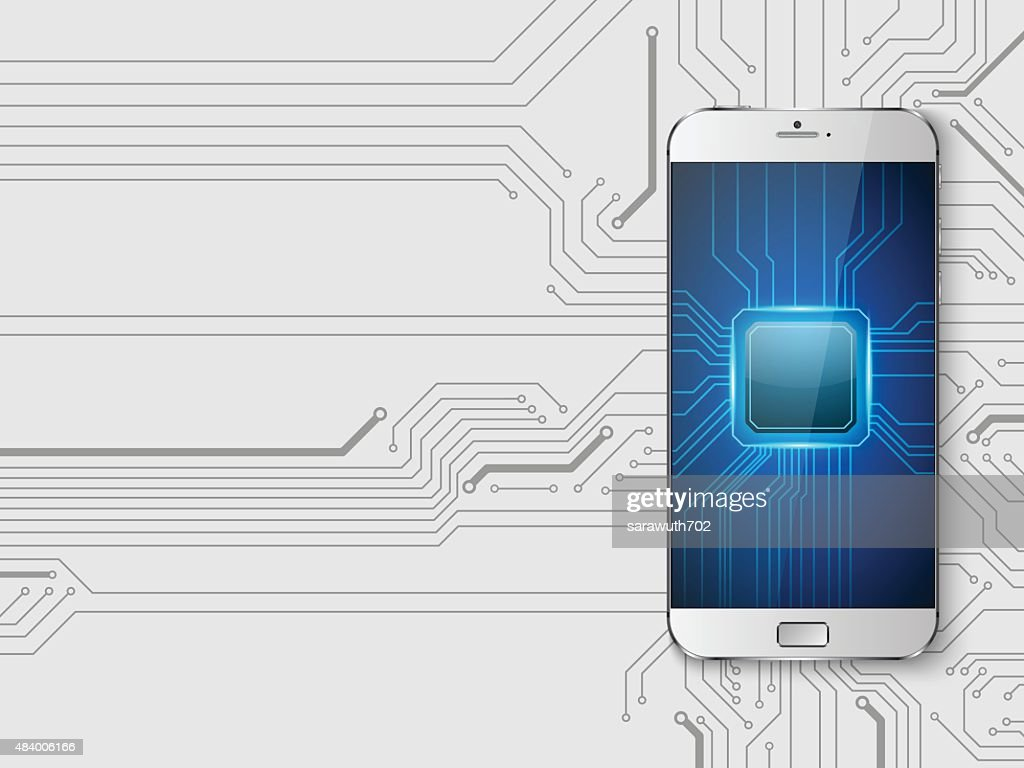 Touchscreen Smartphone with circuit background.vector