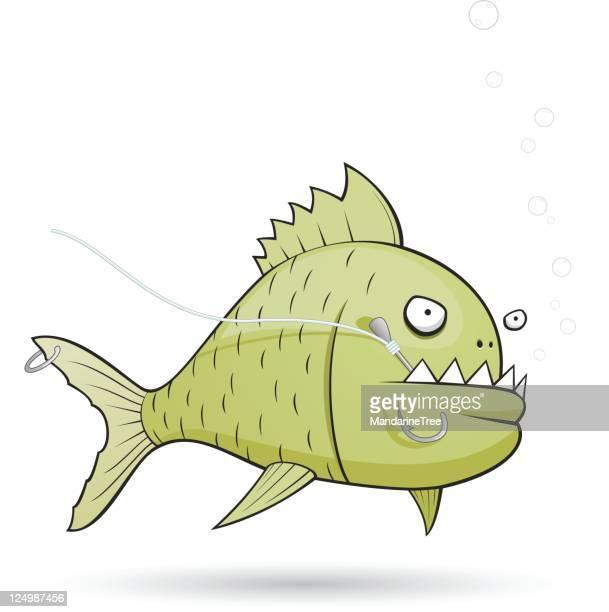 tough fish - cartoon characters with big teeth stock illustrations