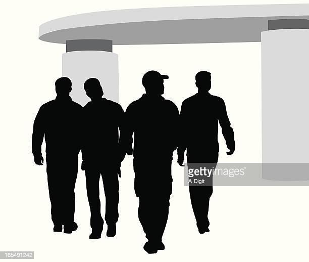 tough guys vector silhouette - gang stock illustrations