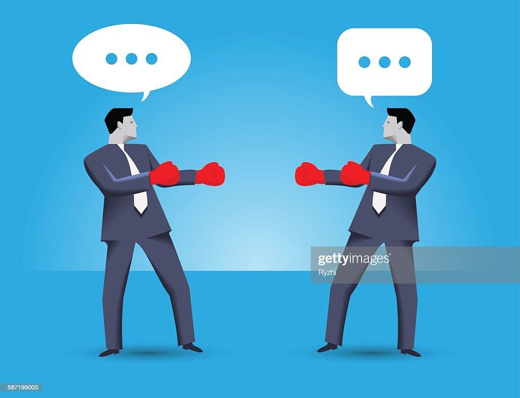 Tough negotiation business concept