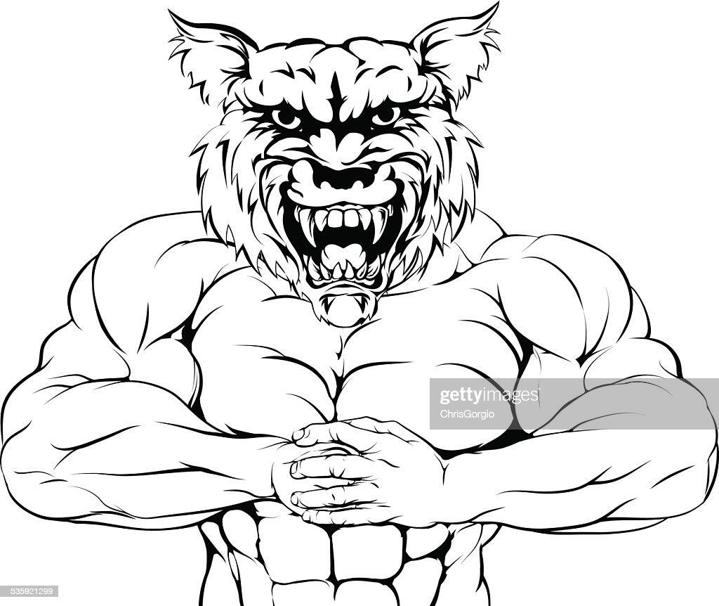 Tough wolf mascot : Vector Art