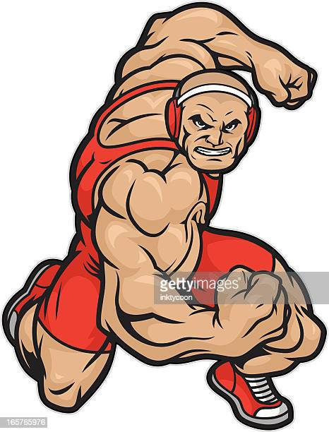 tough wrestler ready to wrestle. - rough housing stock illustrations