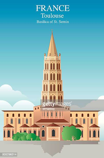 toulouse- basilica of st. sernin - toulouse stock illustrations, clip art, cartoons, & icons