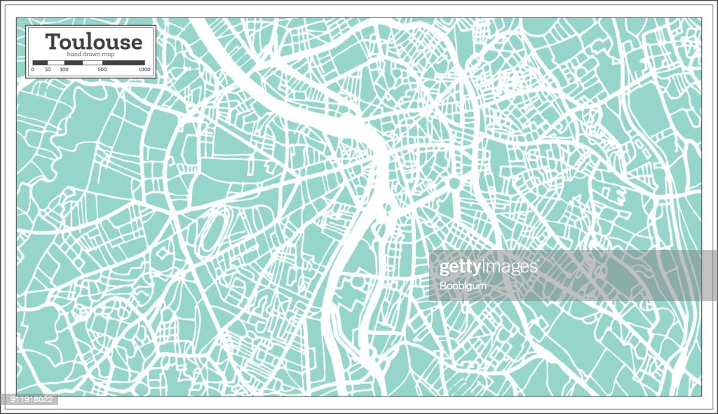 Toulouse France City Map in Retro Style. Outline Map.