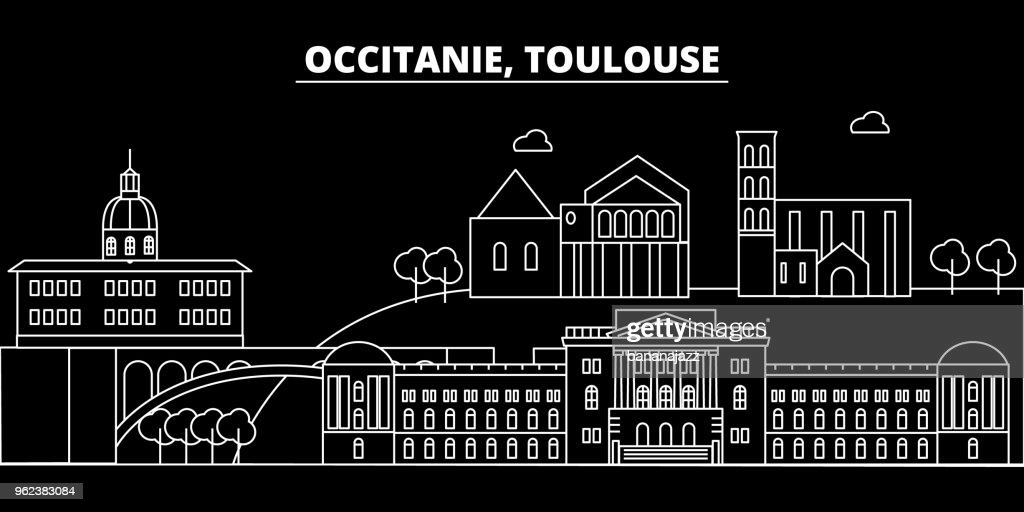 Toulouse silhouette skyline. France - Toulouse vector city, french linear architecture, buildings. Toulouse travel illustration, outline landmarks. France flat icon, french line banner