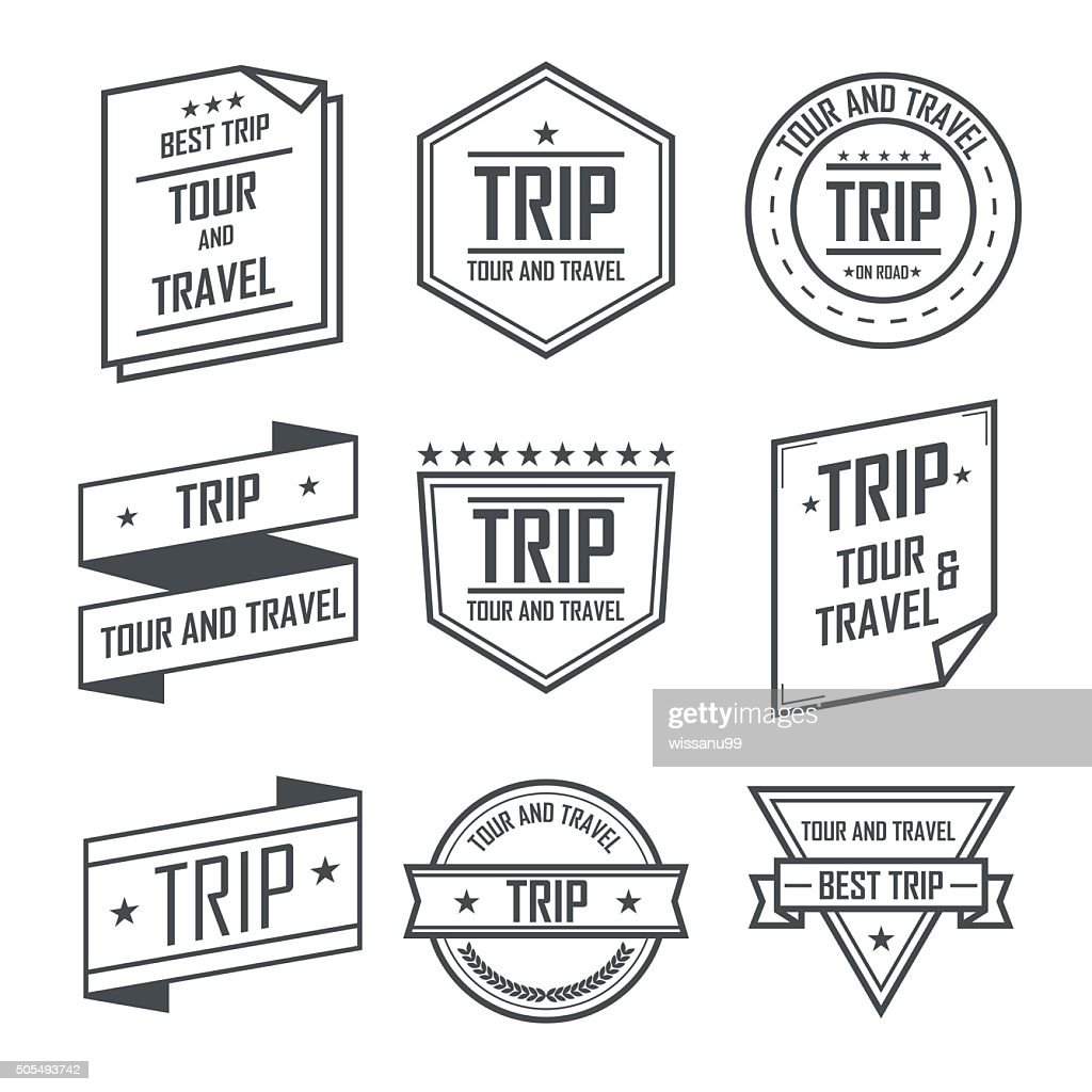 Tour and travel trip labels and stickers vintage emblem design.