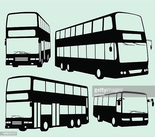 tour bus und double decker - bus stock-grafiken, -clipart, -cartoons und -symbole