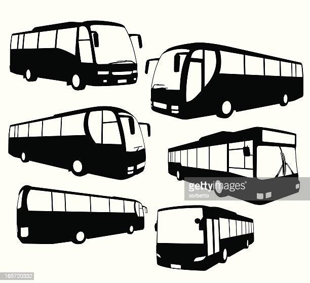 tour bus collection - bus stock illustrations