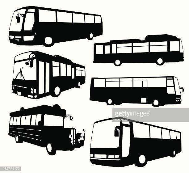stockillustraties, clipart, cartoons en iconen met tour bus collection - bus