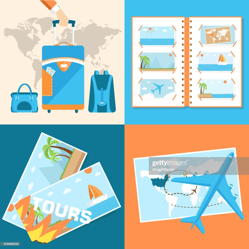 tour of the world concept. Tourism with fast travel illustration