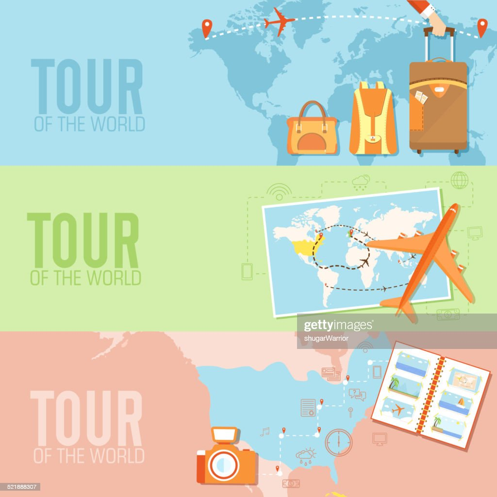 tour of the world seamless pattern. Tourism with fast travel