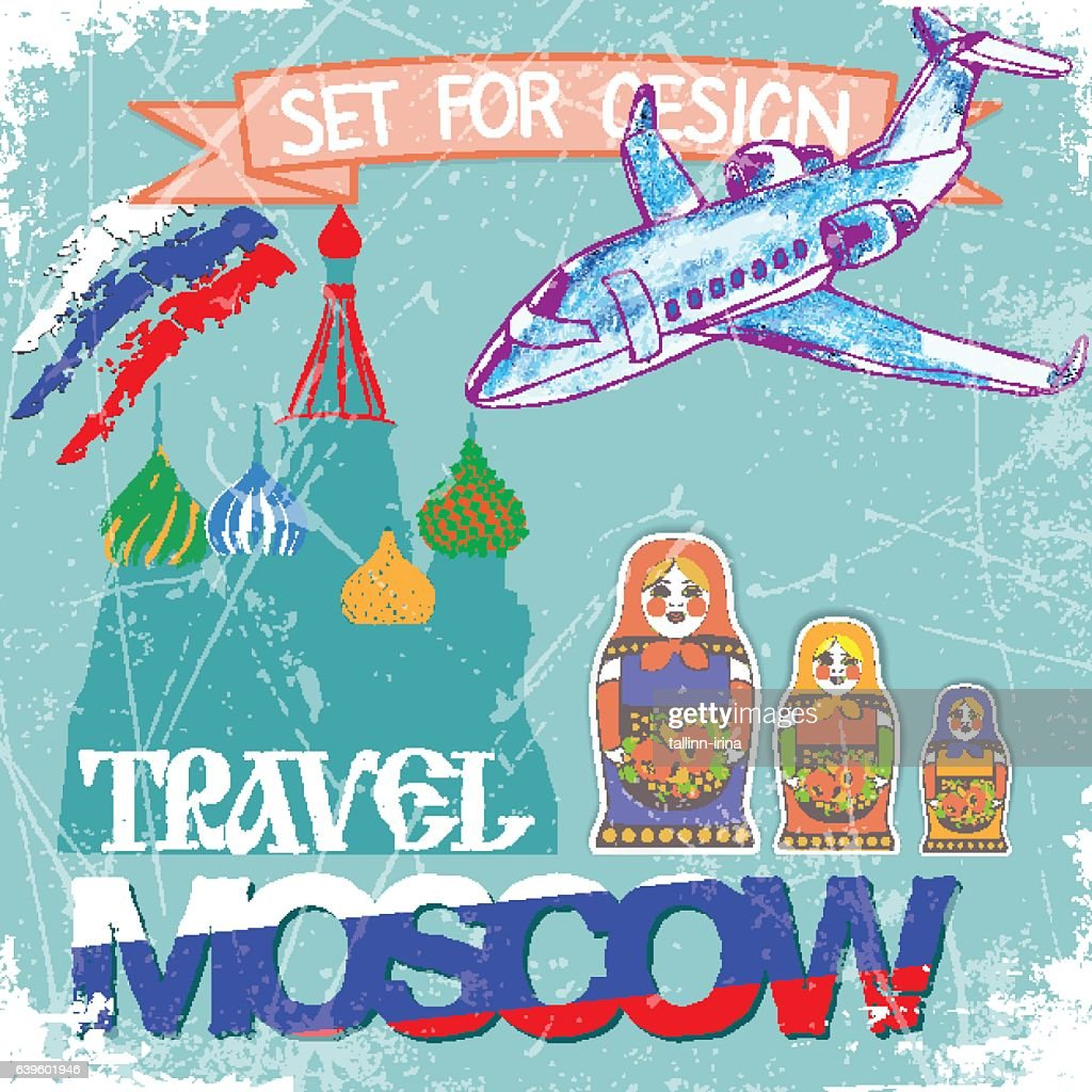 tourisе set collection.travel to Moscow. vector illustration