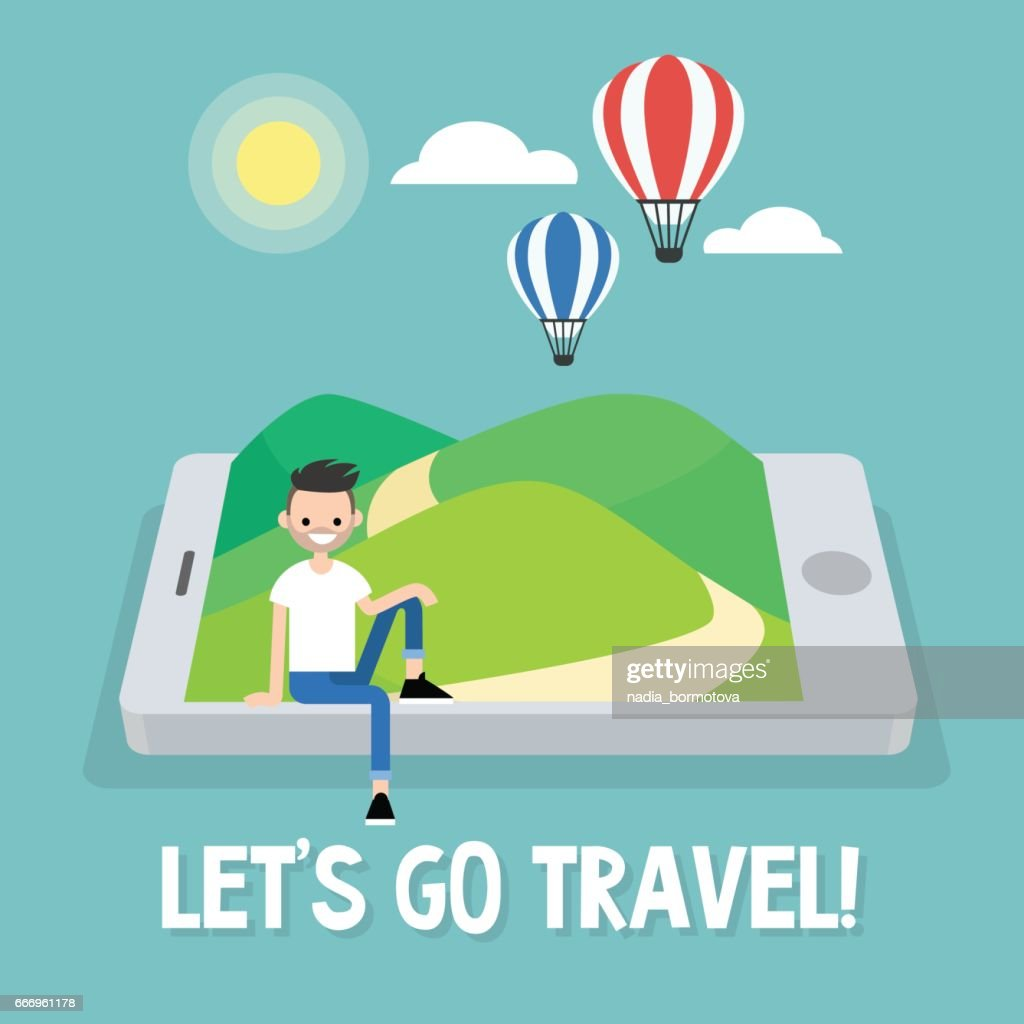 Tourism. Air balloons in the sky. Travel mobile application. Vector illustration, clip art
