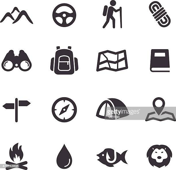 tourism and camping icons - acme series - mountain peak stock illustrations, clip art, cartoons, & icons