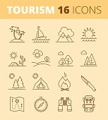 Tourism and camping line symbols. Vector thin outline icon set.