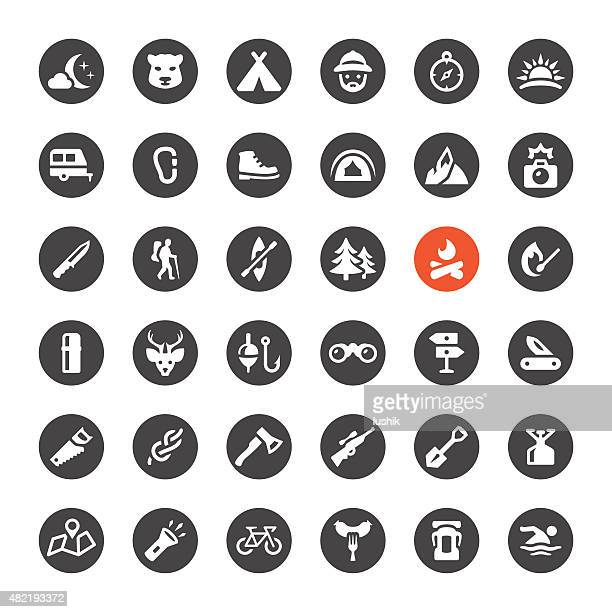 tourism and camping vector icons - head above water stock illustrations
