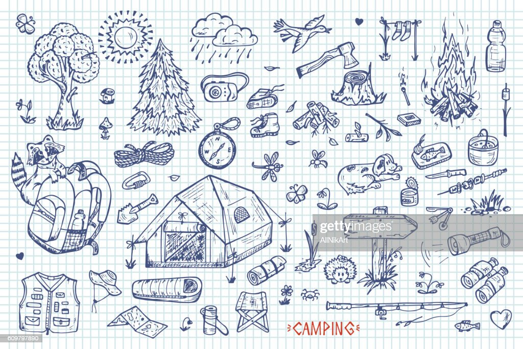 Tourism and camping vector set. Hand drawn doodle Camping Elements