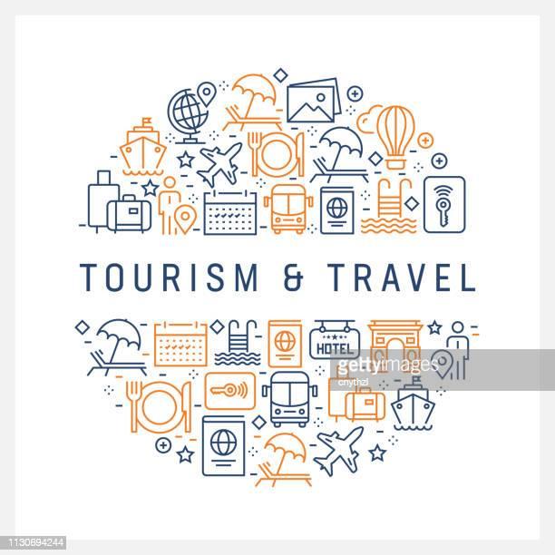Turism och resor koncept - färgglada linje ikoner, ordnade i cirkel