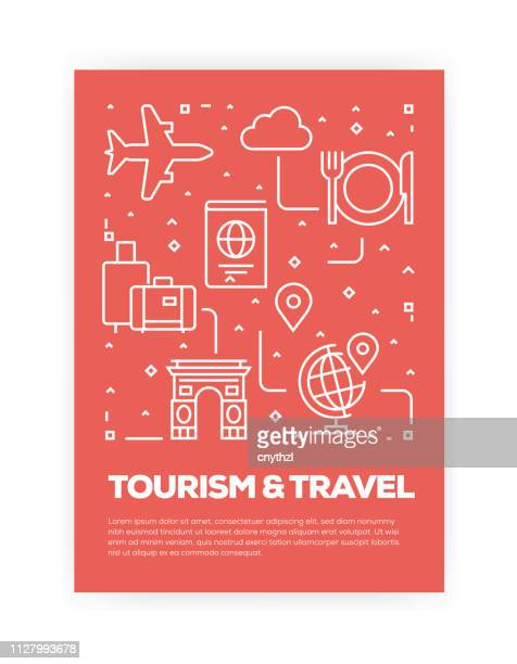 tourism and travel concept line style cover design for annual report, flyer, brochure. - id card template stock illustrations