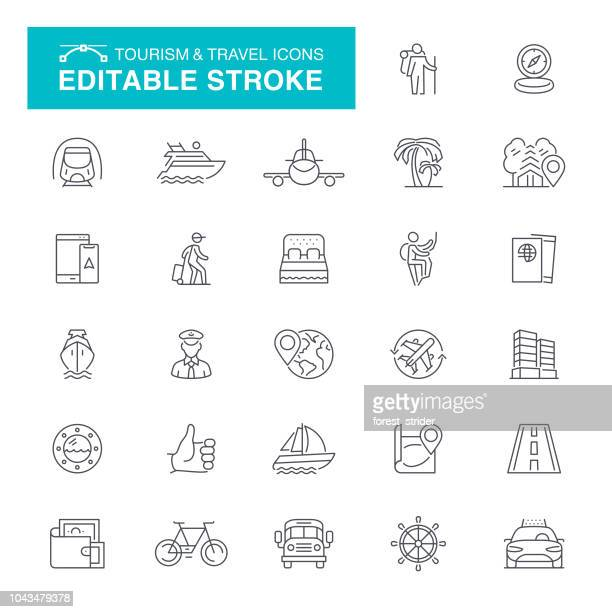 tourism and travel editable stroke icons - travel stock illustrations
