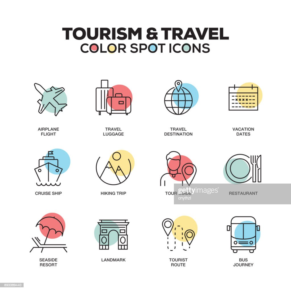 Tourism and Travel icons. Vector line icons set. Premium quality. Modern outline symbols and pictograms. : stock illustration