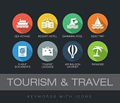 Tourism and Travel keywords with icons