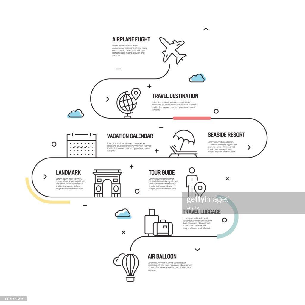 Toerisme en reizen vector concept en infographic design elementen in lineaire stijl : Stockillustraties