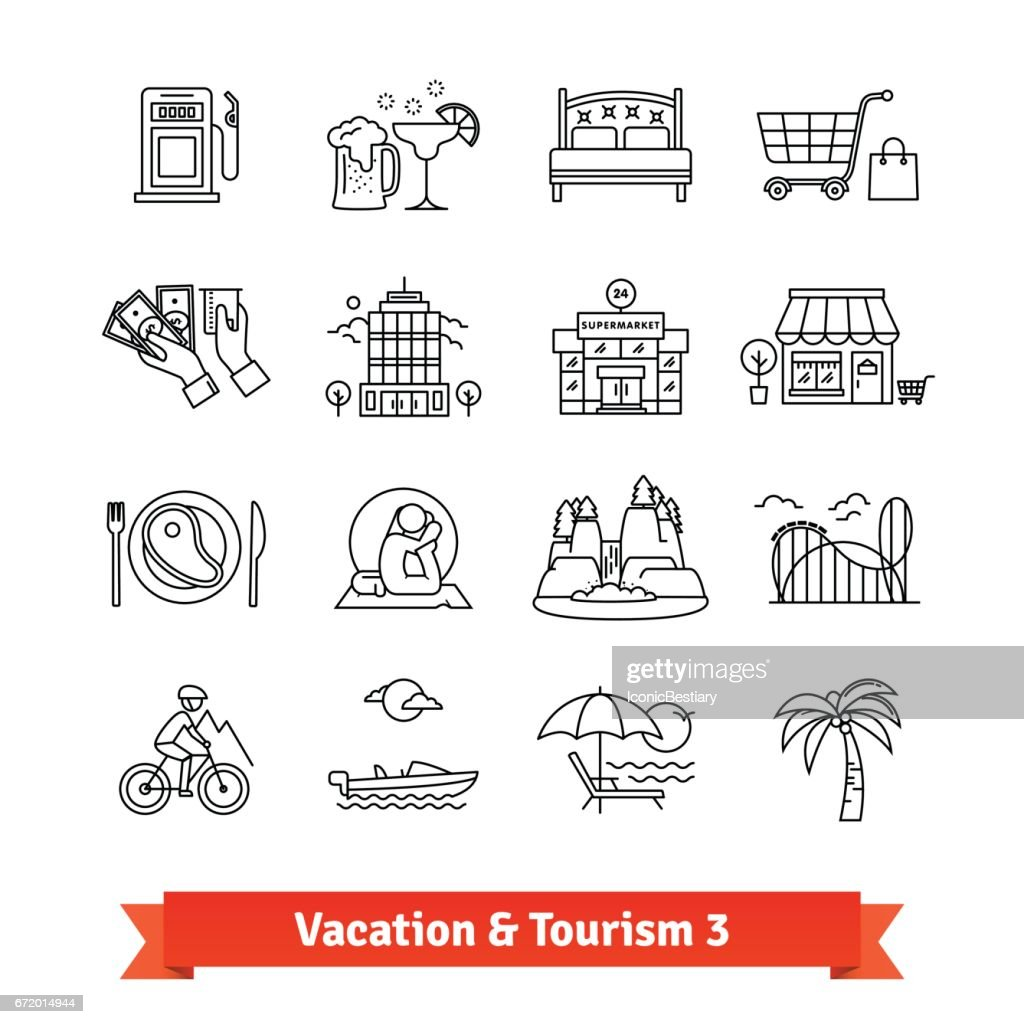 Tourism and vacation recovery. Thin line icons set