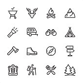 Tourism & Camping - outline icon set