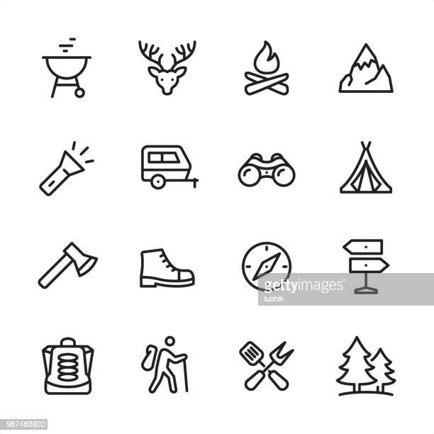 tourism & camping - outline icon set - tent stock illustrations, clip art, cartoons, & icons