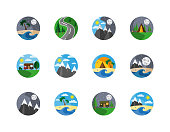 Tourism, hiking, camping, mountain and travel. icontype. Badge. Symbols of nature and camping.