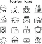Tourism icon set in thin line style