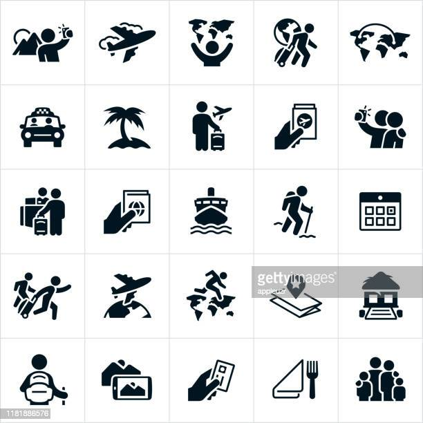 tourism icons - travel stock illustrations