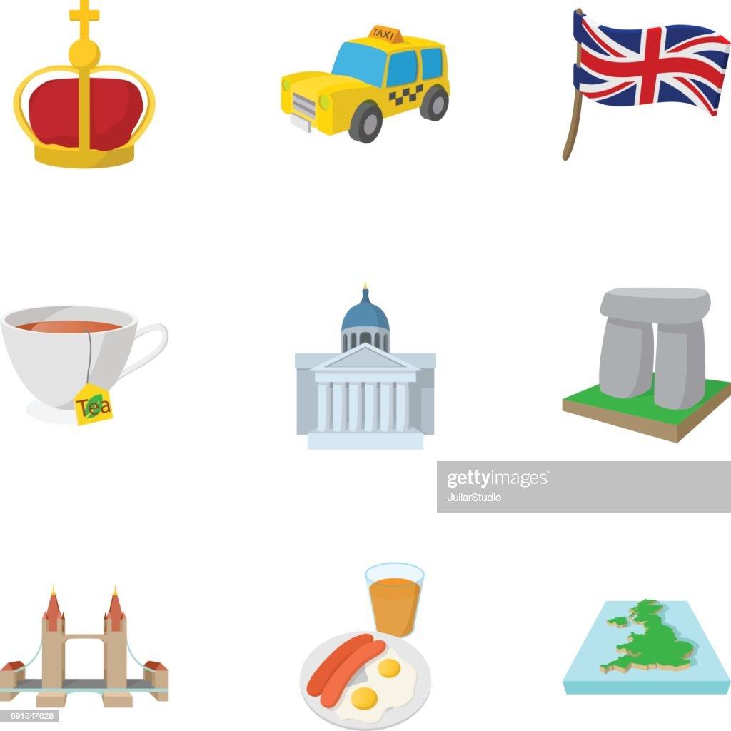Tourism in United Kingdom icons set, cartoon style